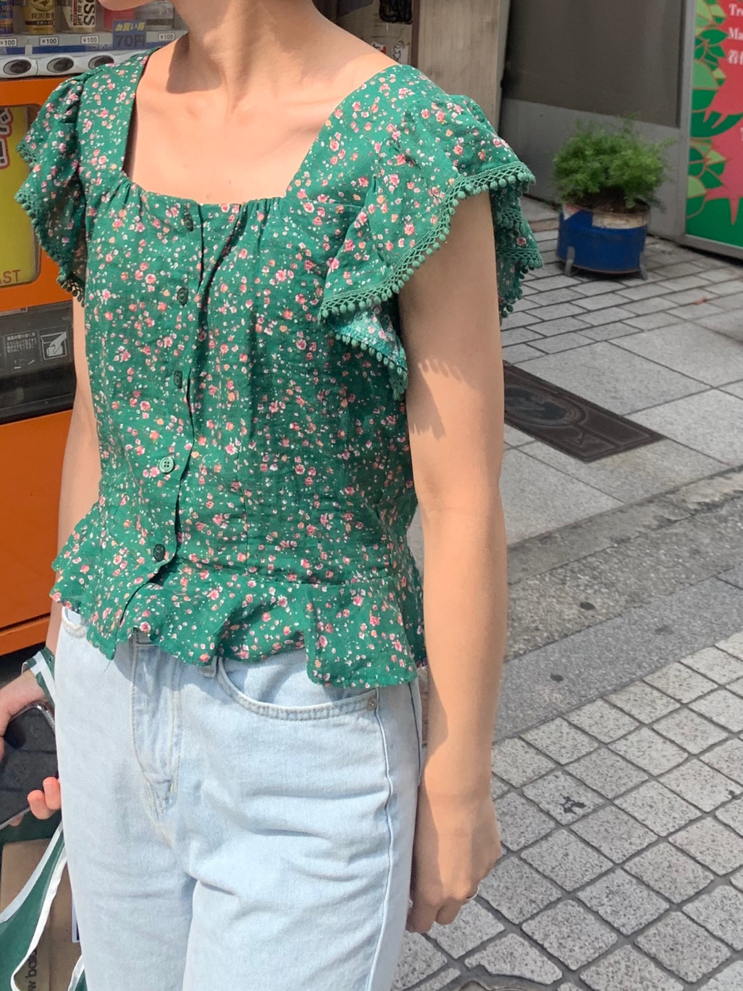 tassel flower blouse (2color)