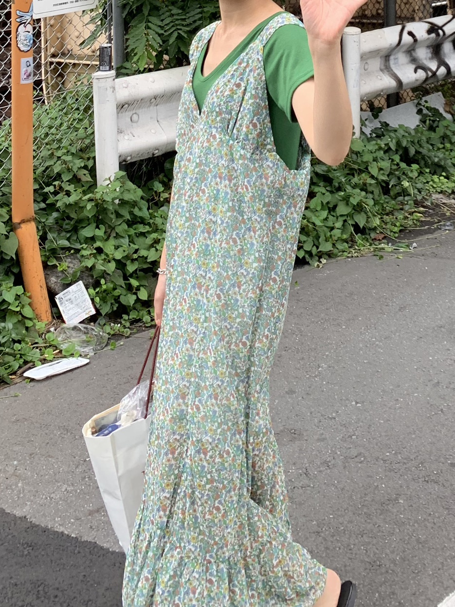 vintage green flower dress